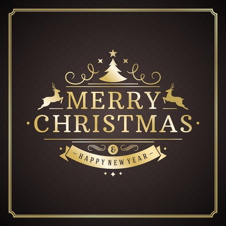 Christmas retro typography and ornament decoration. Merry Christmas holidays wish greeting card design and vintage background. Happy new year message. Vector illustration