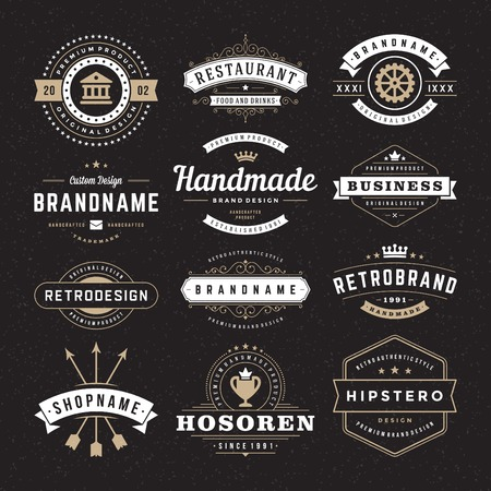 Ilustración de Retro Vintage Insignias or Logotypes set. Vector design elements, business signs, logos, identity, labels, badges and objects. - Imagen libre de derechos