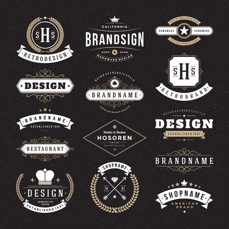 Foto de Retro Vintage Insignias or icon types set. Vector design elements, business signs, identity, labels, badges and objects. - Imagen libre de derechos