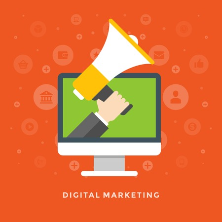 Flat design vector business illustration concept Digital marketing business man holding megaphone for website and promotion banners.