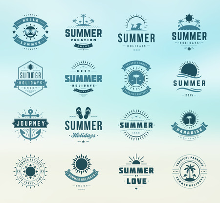 Illustration pour Summer holidays labels design elements and typography set. Retro and vintage templates. Badges, Posters, Emblems, Apparel. Vector set. Beach vacation, party, travel, tropical paradise, adventure. - image libre de droit