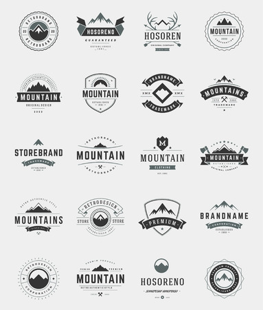 Set Mountains , Badges and Labels Vintage Style.  Design elements retro vector illustration.