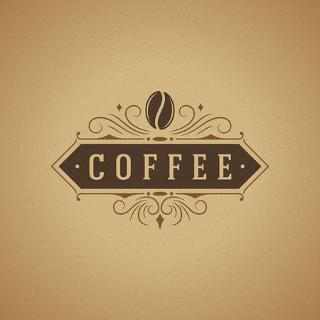 Coffee Shop Logo Design Element in Vintage Style for Logotype, Label, Badge and other design. Bean retro vector illustration.