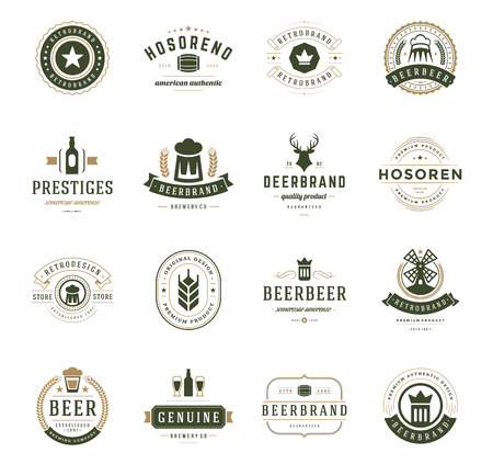 Illustration pour Set Beer Logos, Badges and Labels Vintage Style. Design elements retro vector illustration. - image libre de droit
