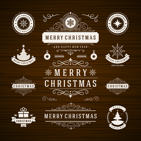 Illustration for Christmas Decorations Vector Design Elements. Typographic elements, Symbols, Icons, Vintage Labels, Badges, Frames, Ornaments and Ribbons, set. Flourishes calligraphic. Merry Christmas and Happy Holidays wishes. - Royalty Free Image