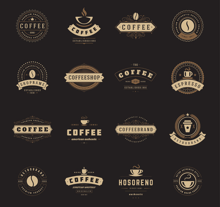 Coffee Shop Logos, Badges and Labels Design Elements set. Cup, beans, cafe vintage style objects retro vector illustration.