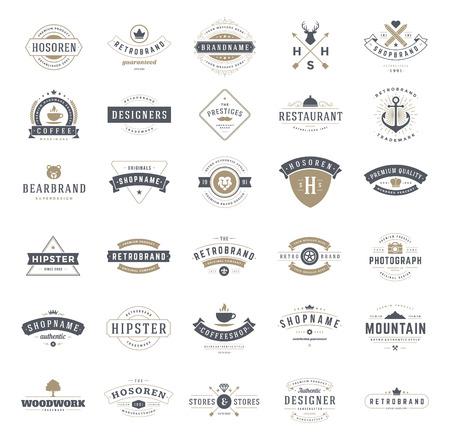 Foto de Retro Vintage Logotypes or insignias set. Vector design elements, business signs, logos, identity, labels, badges, ribbons, stickers and other branding objects. - Imagen libre de derechos