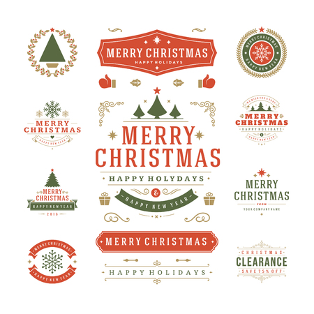 Illustration pour Christmas Labels and Badges Vector Design. Decorations elements, Symbols, Icons, Frames, Ornaments and Ribbons, set. Typographic Merry Christmas and Happy Holidays wishes. - image libre de droit