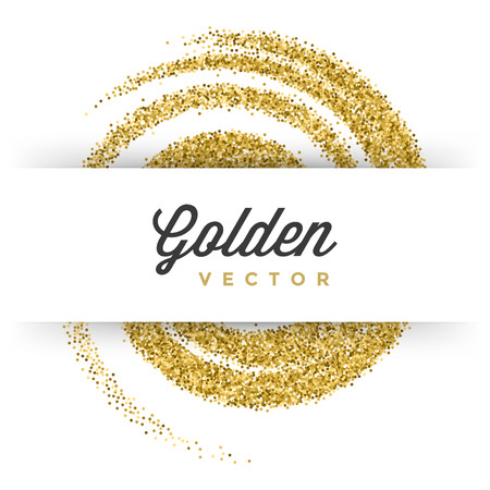 Ilustración de Gold Glitter Sparkles Bright Confetti white vector background. Good for Greeting Gold Cards, Luxury Invitation, Advertising, Voucher, Certificate, Banners, Quote Mark Text. Golden Texture, Shiny Gold. - Imagen libre de derechos