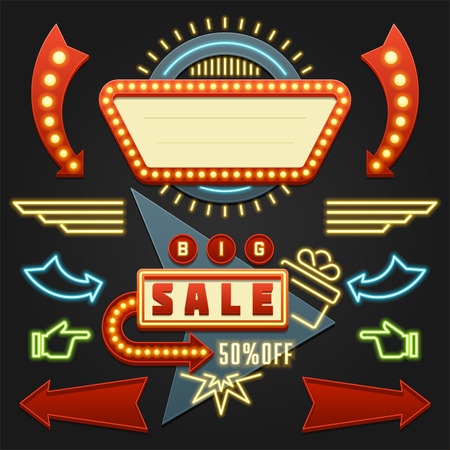 Illustration pour Retro Showtime Signs Design Elements Set. Bright Billboard Signage Light Bulbs, Frames, Arrows, Icons, Neon Lamps. American advertisement style vector illustration, 1950s Sign Design, Retro Signage. - image libre de droit