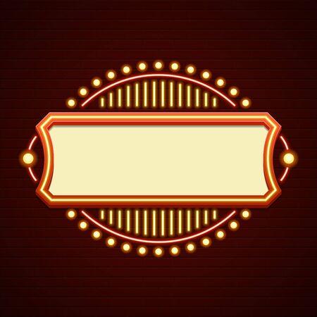 Illustration pour Retro Showtime Sign Design. Cinema Signage Light Bulbs Frame and Neon Lamps on brick wall background. American advertisement style vector illustration. 1950s Sign Design, Retro Signage, Sale. - image libre de droit