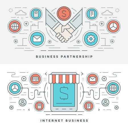 Ilustración de Flat line Business Partnership and Internet. Vector illustration. Modern thin linear stroke vector icons. Website Header Graphics, Banner, Infographics Design, Promotional Materials. Hands Icons. - Imagen libre de derechos