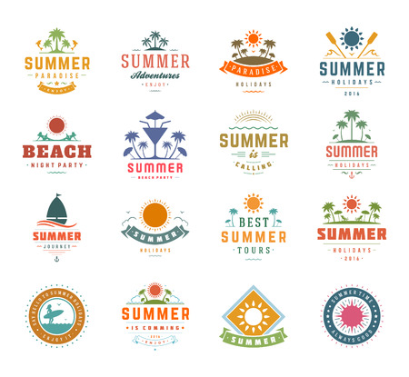 Illustration pour Summer Holidays Design Elements and Typography Set. Retro and Vintage Templates Labels or Badges Good for Posters, Beach Party, Greeting Cards. Vector Illustrations and Objects. Tropical paradise. - image libre de droit