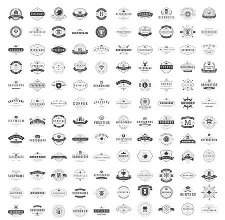 Foto de Vintage Logos Design Templates Set. Vector logotypes elements collection, Icons Symbols, Retro Labels, Badges, Silhouettes. Big Collection 120 Items. - Imagen libre de derechos