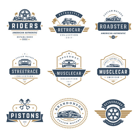 Photo for Car logos templates vector design elements set, vintage style emblems and badges retro illustration. Classic cars repairs, tire service silhouettes. - Royalty Free Image