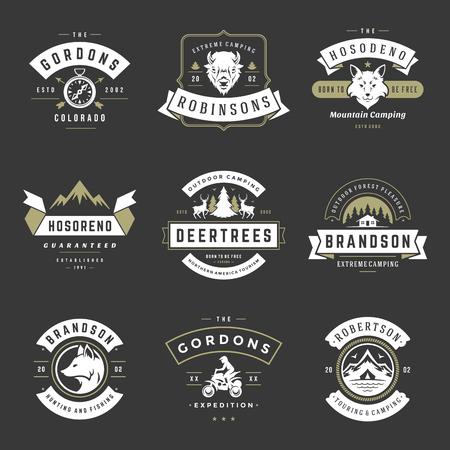 Ilustración de Camping logos templates vector design elements and silhouettes set, Outdoor adventure mountains and forest expeditions, vintage style emblems and badges retro illustration. - Imagen libre de derechos