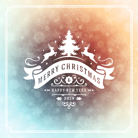 Illustration for Christmas and new year retro typography label design and light with snowflakes. Holidays wish greeting card design and vintage ornament decoration. Vector background. - Royalty Free Image