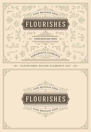 Illustration pour Vintage ornaments swirls and scrolls decorations design elements. Flourishes calligraphic combinations for retro logos, greeting cards, royal crests, frames and Invitations. - image libre de droit