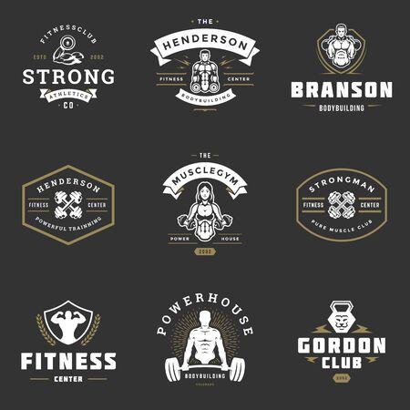 Illustration pour Fitness center and sport gym logos and badges design set vector illustration. - image libre de droit
