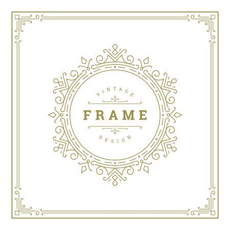 Photo pour Vintage flourishes ornament swirls lines frame template vector illustration. - image libre de droit