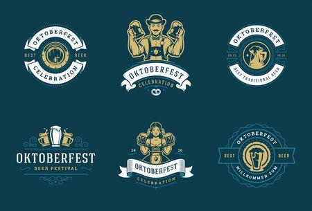 Illustration for Oktoberfest badges and labels set vintage typographic design vector templates. - Royalty Free Image