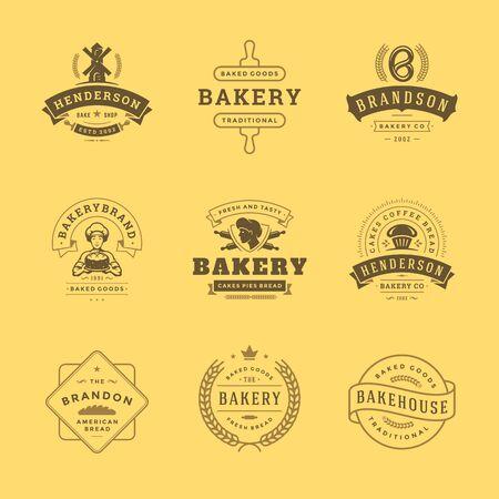 Ilustración de Bakery icon and badges design templates set illustration good for bakery shop and cafe emblems. - Imagen libre de derechos