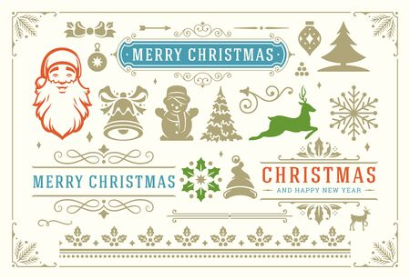 Illustration for Christmas decoration symbols, ornate vignettes and icons for labels, badges and greeting card illustration - Royalty Free Image