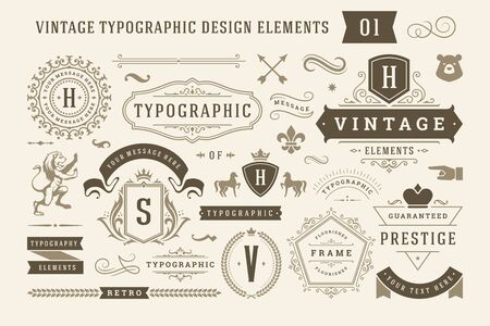Foto per Vintage typographic design elements set illustration. - Immagine Royalty Free
