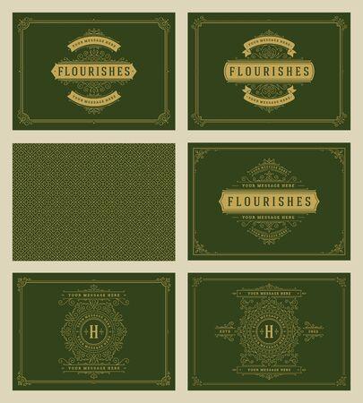 Illustration for Vintage ornament greeting cards set templates. - Royalty Free Image