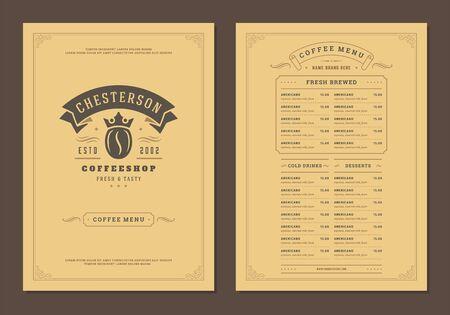 Illustration pour Coffee menu design brochure template Illustration - image libre de droit