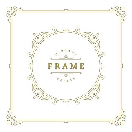 Illustration pour Vintage flourishes ornament swirls lines frame template - image libre de droit