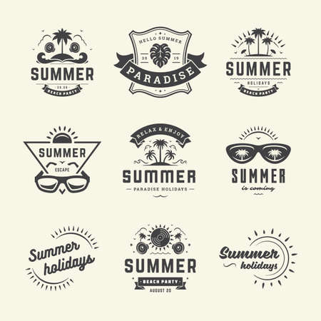 Illustration for Summer holidays labels and badges retro typography design set. - Royalty Free Image