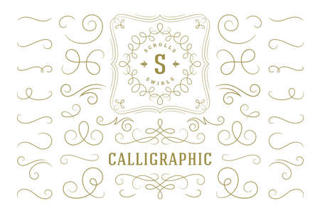 Illustration for Calligraphic design elements vintage ornaments swirls and scrolls ornate decorations vector design elements. - Royalty Free Image