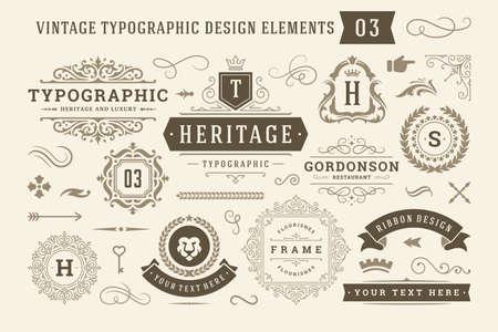 Illustration pour Vintage typographic design elements set vector illustration. - image libre de droit