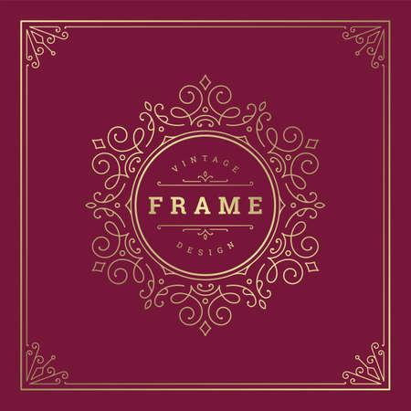 Illustration for Vintage flourishes ornament swirls lines frame template vector illustration victorian ornate border for greeting cards - Royalty Free Image