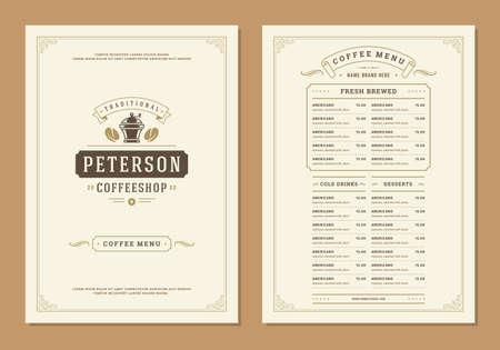 Illustration pour Coffee menu design brochure template. Coffee shop logo with vintage typographic decoration elements. Vector Illustration. - image libre de droit