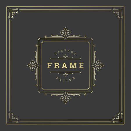 Illustration pour Vintage flourishes ornament swirls lines frame template vector illustration victorian ornate border for greeting cards - image libre de droit