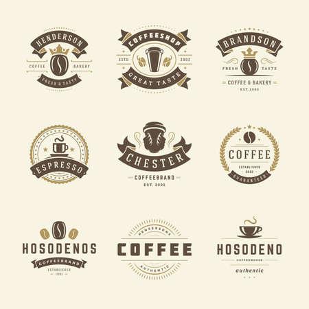 Illustration pour Coffee shop logos design templates set vector illustration for cafe badge design and menu decoration - image libre de droit