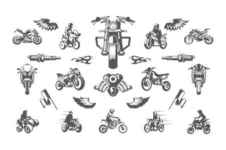 Illustration for Vintage custom motorcycles silhouettes and icons isolated on white background vector illutrations set. - Royalty Free Image