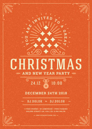 Illustration for Christmas party invitation retro typography and decoration elements. - Royalty Free Image