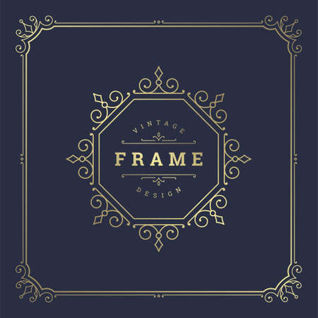 Illustration for Vintage flourishes ornament swirls lines frame template vector illustration victorian ornate border - Royalty Free Image