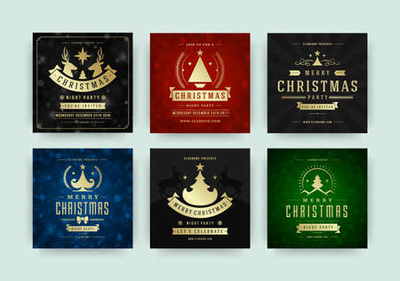 Illustration pour Christmas party web banners for social media mobile apps. - image libre de droit