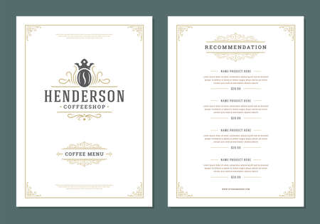 Illustration pour Coffee menu design template flyer for cafe with coffee shop bean symbol and vintage typographic decoration elements - image libre de droit