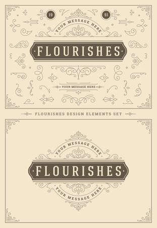 Illustration pour Vintage ornaments swirls and vignettes decorations design elements set vector illustration. - image libre de droit