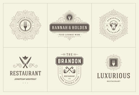 Illustration pour Restaurant logos templates set vector illustration good for menu labels and cafe badges - image libre de droit