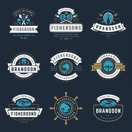 Illustration pour Seafood logos or signs set vector illustration fish market and restaurant emblems templates design - image libre de droit
