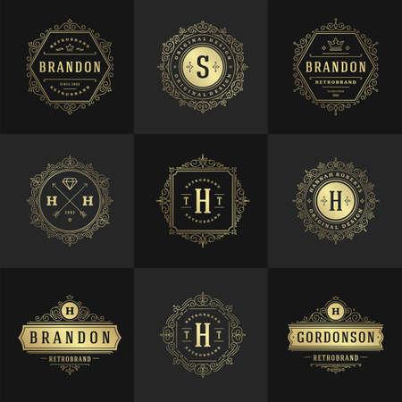 Ilustración de Vintage logos and monograms set elegant flourishes line art graceful ornaments victorian style vector template design - Imagen libre de derechos