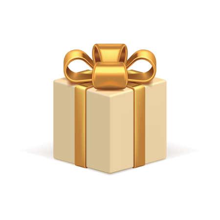 Illustration pour Beige gift box 3d vector icon. Celebration holiday surprise tied with realistic luxurious gold ribbon. - image libre de droit