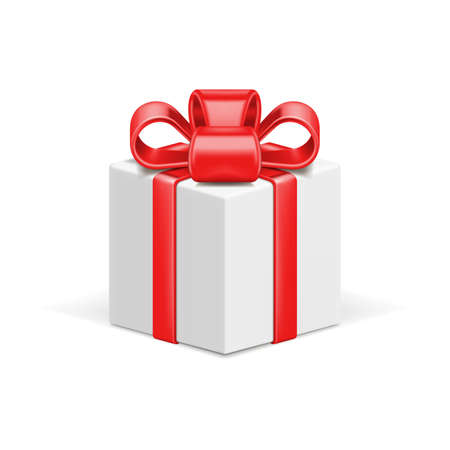 Illustration pour White gift box 3d vector icon and red shiny bow ribbon - image libre de droit