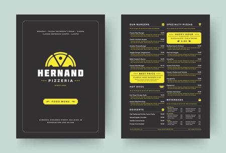 Illustration pour Pizza restaurant menu layout design brochure or food flyer template vector illustration - image libre de droit